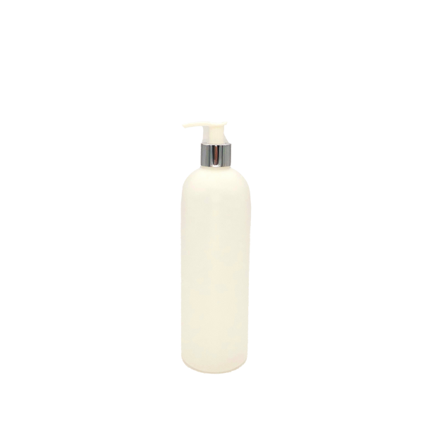 Rundflasche HDPE natur 500 ml mit Dosierspender PP chrom/weiss