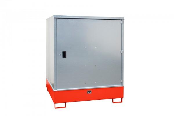Gefahrstoff-Schrank GS-3, lackiert - feuerrot 1475x1460x1805mm, 1 Tür, 4 x 200-l-Fässer, 4687 Liter