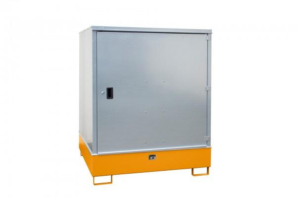 Gefahrstoff-Schrank GS-3, lackiert - gelborange 1475x1460x1805mm, 1 Tür, 4 x 200-l-Fässer, 4687 Lite