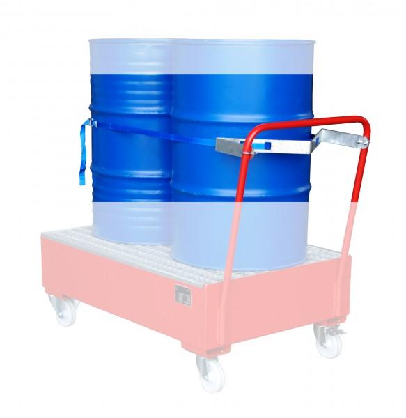 Fasshalterung mit Spanngurt für 2 x 200 Liter Fass 685x245x50mm