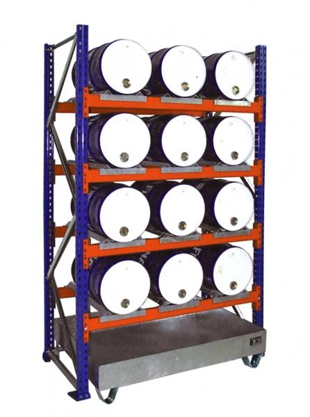 Anbauregal mit Wanne 3007 1350x800x2500mm, 4 Ebenen, 12 x 60-l-Fässer liegend, ohne Gitterrost
