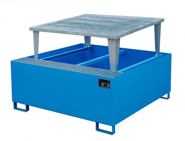AWA 1000, lackiert - lichtblau 1460x1460x1090mm, 1 x Abfüllaufsatz, 1 x 1000-l-IBC, 1000 Liter