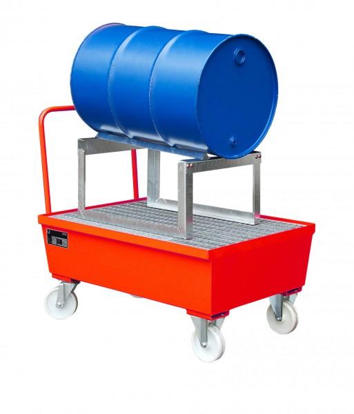 AST, lackiert - feuerrot 1280x800x565mm, 1 x 200-l-Fass, 225 Liter
