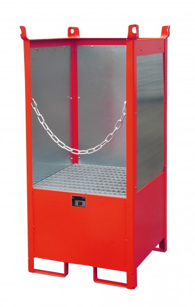 FSP-1 G, lackiert - feuerrot 760x760x1590mm, 1 x 200-l-Fass, 210 Liter
