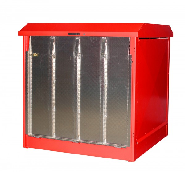 Depot GD-N/R 4, verzinkt + lackiert - feuerrot 1437x1500x1457mm, 4 x 200-l-Fässer, 220 Liter