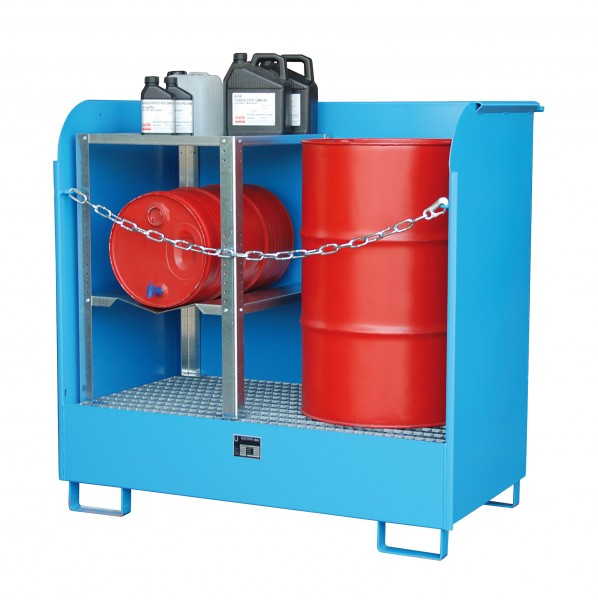 Depot GD-A, lackiert - lichtblau 1420x795x1370mm, 2 x 200-l-Fässer, 220 Liter