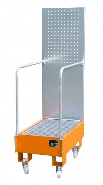 FA mit Lochplattenwand LPW 60-3, lackiert - gelborange 800x500x415mm, 2 x 60-l-Fass, 60 Liter