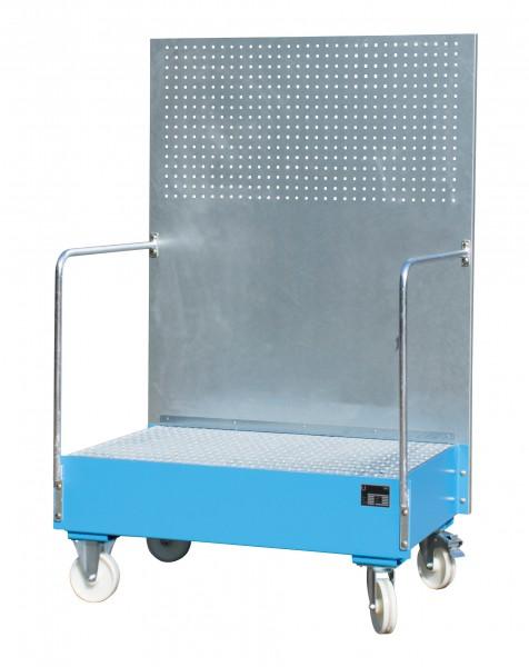 FA mit Lochplattenwand LPW 200-2, lackiert - lichtblau 800x1200x515mm, 2 x 200-l-Fass, 215 Liter