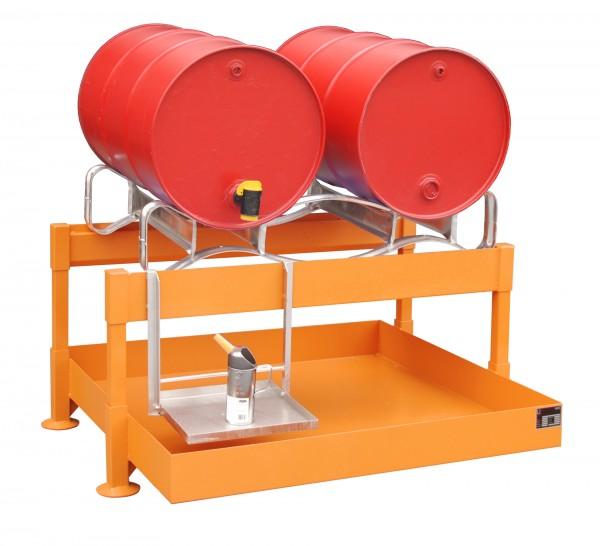 Fass-Abfüllstation FAS-2, lackiert - gelborange 1300x1550x735mm, 2 x 200-l-Fässer, 220 Liter