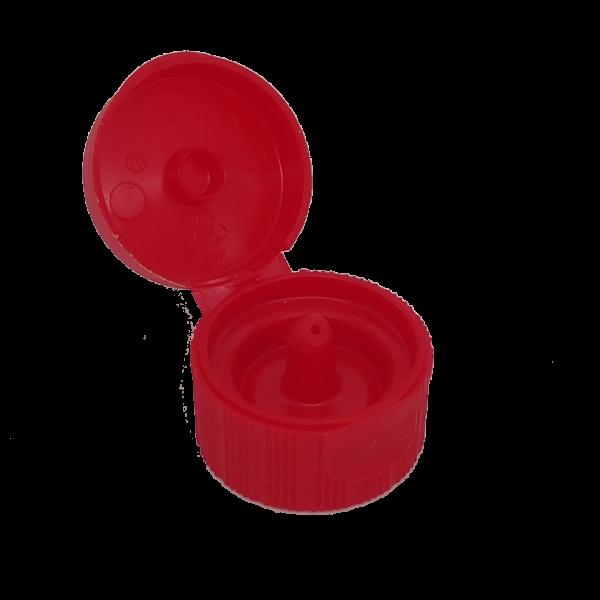 Klappschanierverschlüsse DIN 28 rot ohne Steigrohr, passend für Euroflasche