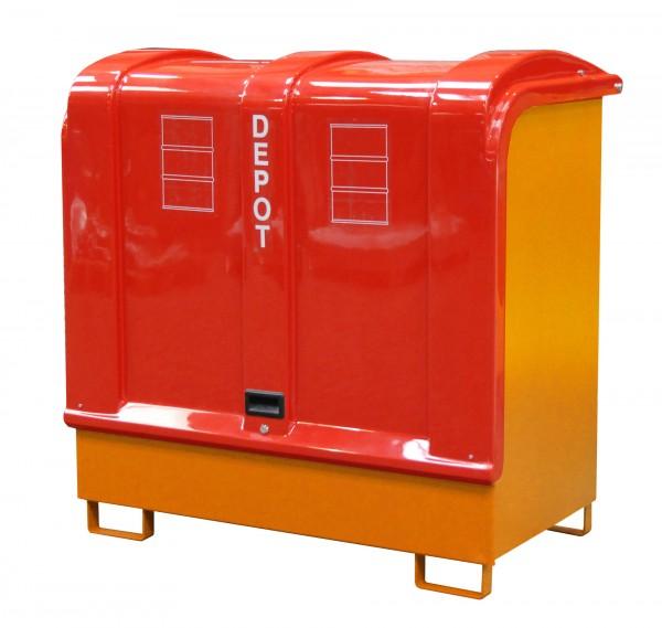 Depot GD-B, lackiert - gelborange 1460x830x1460mm, 2 x 200-l-Fässer, 220 Liter