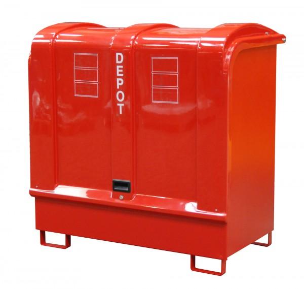 Depot GD-B, lackiert - feuerrot 1460x830x1460mm, 2 x 200-l-Fässer, 220 Liter