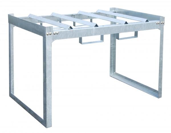 Fass- und Kleingebinderegal FRE-2/M, feuerverzinkt 1310x800x780mm, 2 x 200-l-Fässer