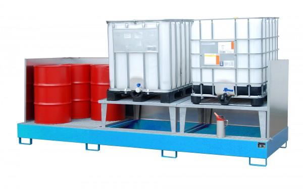 AWA 32, lackiert - lichtblau 3850x1460x780mm, 2 x Abfüllaufsatz, 1 x Gitterrost, 3 x 1000-l-IBC, 100