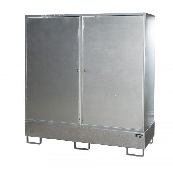Gefahrstoff-Schrank GS-2, feuerverzinkt 1680x690x1780mm, 2 Türen, 2 x 200-l-Fässer, 230 Liter