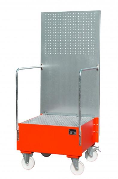 FA mit Lochplattenwand LPW 200-1, lackiert - feuerrot 800x800x610mm, 1 x 200-l-Fass, 203 Liter