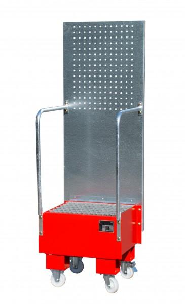 FA mit Lochplattenwand LPW 60-1, lackiert - feuerrot 500x500x505mm, 1 x 60-l-Fass, 60 Liter