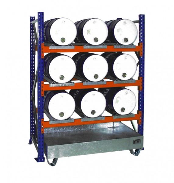 Anbauregal mit Wanne 3005 1350x800x2000mm, 3 Ebenen, 9 x 60-l-Fässer liegend, ohne Gitterrost