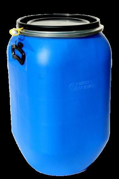 Deckelfass 60 Liter aus HD-PE blau QUADRO mit schwarzem Deckel und UN-Zulassung