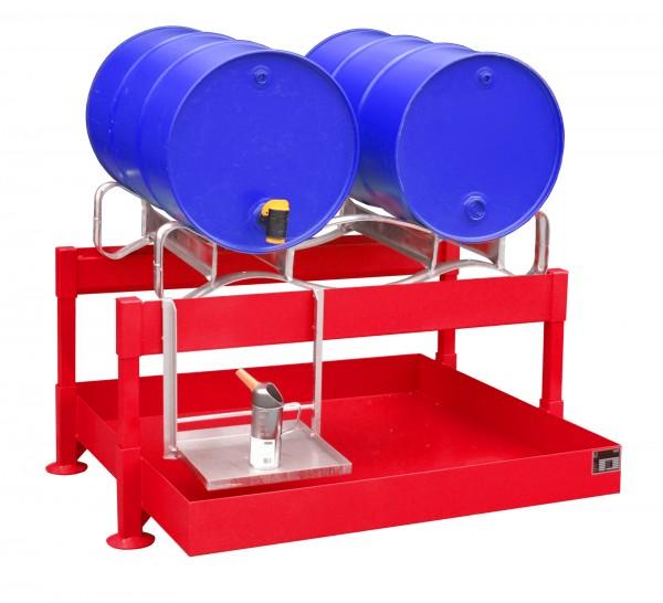 Fass-Abfüllstation FAS-2, lackiert - feuerrot 1300x1550x735mm, 2 x 200-l-Fässer, 220 Liter