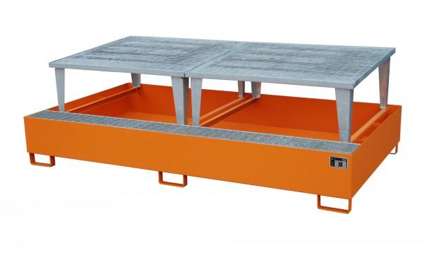 AWA 1000-2, lackiert - gelborange 2650x1460x863mm, 2 x Abfüllaufsatz, 2 x 1000-l-IBC, 1000 Liter