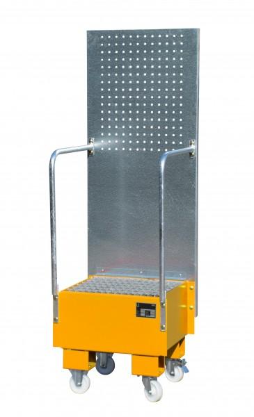 FA mit Lochplattenwand LPW 60-1, lackiert - gelborange 500x500x505mm, 1 x 60-l-Fass, 60 Liter