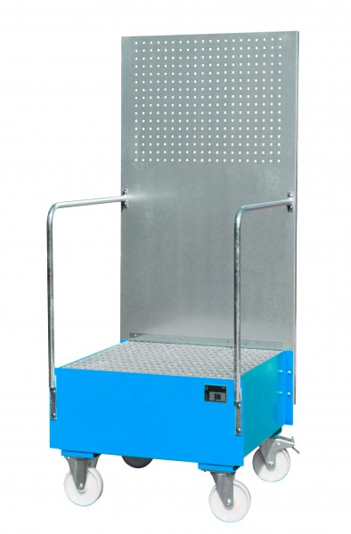 FA mit Lochplattenwand LPW 200-1, lackiert - lichtblau 800x800x610mm, 1 x 200-l-Fass, 203 Liter