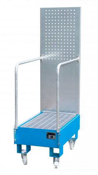 FA mit Lochplattenwand LPW 60-3, lackiert - lichtblau 800x500x415mm, 2 x 60-l-Fass, 60 Liter