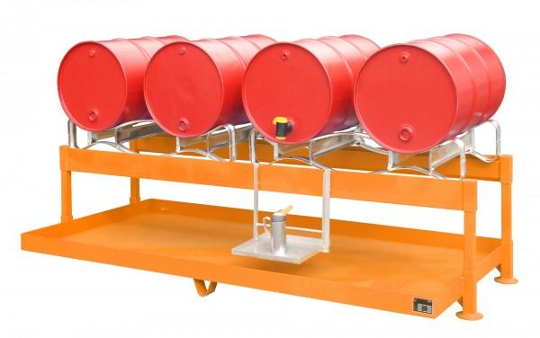 Fass-Abfüllstation FAS-4, lackiert - gelborange 1300x2900x735mm, 4 x 200-l-Fässer, 285 Liter