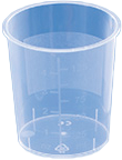 PP-Becher konisch, transparent 125ml OHNE DECKEL mit Skala und Beschriftungsfeld (VE= 50Stck/Beutel)