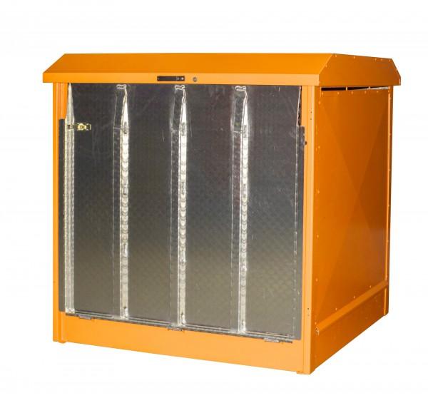 Depot GD-N/R 4, verzinkt + lackiert - gelborange 1437x1500x1457mm, 4 x 200-l-Fässer, 220 Liter