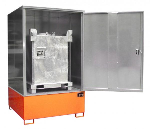 Gefahrstoff-Schrank GS-4, lackiert - gelborange 1475x1460x2410mm, 1 Tür, 1 x 1000-l-IBC, 1000 Liter